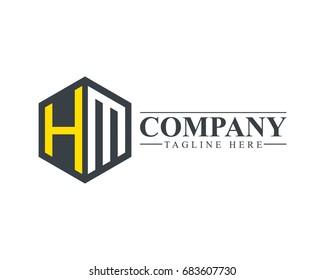 Initial Letter HM Hexagonal Design Logo