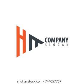 Initial Letter HM Linked Triangle Design Logo