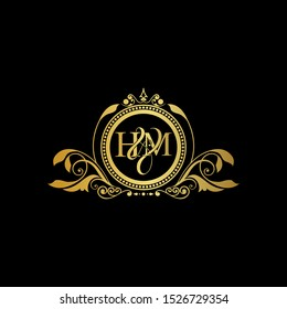 Initial letter HM logo luxury vector mark, gold color elegant classical symmetric curves decor.