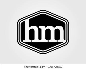 Initial letter hm lowercase logo minimalist black