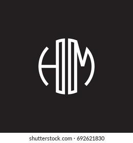 Initial letter HM, minimalist line art monogram circle shape logo, white color on black background
