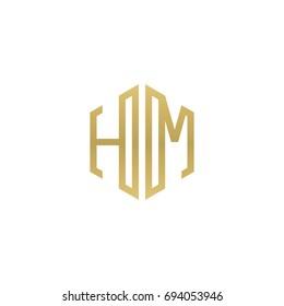 Initial letter HM, minimalist line art hexagon shape logo, gold color