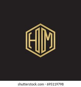 Initial letter HM, minimalist line art hexagon logo, gold color on black background