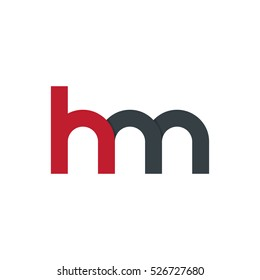 Initial Letter HM Rounded Lowercase Logo Red Black