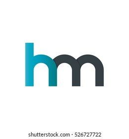 Initial Letter HM Rounded Lowercase Logo Blue Black