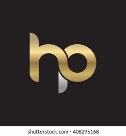 initial letter hp linked circle lowercase logo gold silver black background