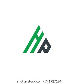 Initial Letter HP Linked Triangle Design Logo