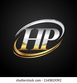 initial letter HP logotype company name colored gold and silver swoosh design. isolated on black background.