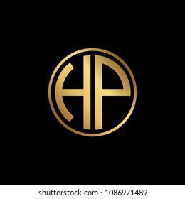 Initial letter HP, minimalist art monogram circle shape logo, gold color on black background