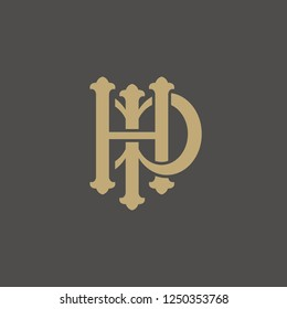 Initial letter. hp or ph letter with classic style design.