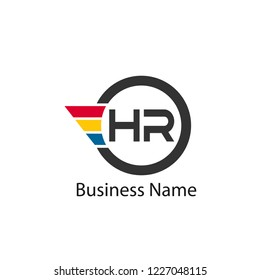 Initial Letter HR Logo Template Design