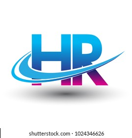 initial letter HR logotype company name colored blue and magenta swoosh design. vector logo for business and company identity.