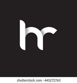 initial letter hr modern linked circle round lowercase logo white black
