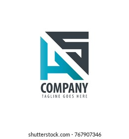 Initial Letter HS Design Logo