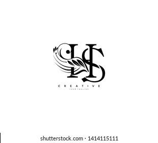 Initial Letter HS Linked Beauty Flourishes Monogram White Background Logo