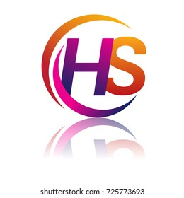 initial letter HS logotype company name orange and magenta color on circle and swoosh design. vector logo for business and company identity.