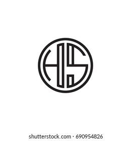Initial letter HS, minimalist line art monogram circle logo, black color