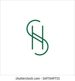 initial letter hs or sh logo vector designs