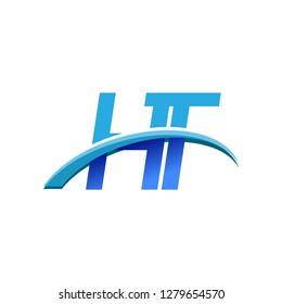 initial letter HT logotype company name colored blue and swoosh design. vector logo for business and company identity.
