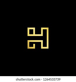 Initial letter HT TH HH H minimalist art logo, gold color on black background.