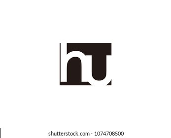 Initial letter hu lowercase logo black and white