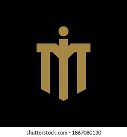 Initial letter I, M, IM or MI overlapping, interlock, monogram logo, gold color on black background