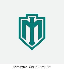Initial letter I, M, IM or MI overlapping, interlock, monogram logo, green color on white background