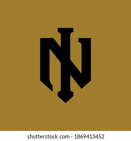 Initial letter I, N, IN or NI overlapping, interlock, monogram logo, black color on gold  background