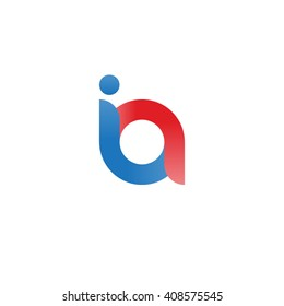 initial letter ia linked round lowercase logo blue red