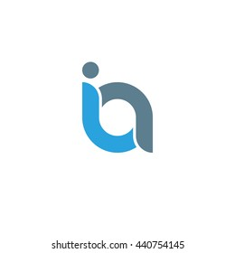 initial letter ia linked round lowercase logo blue