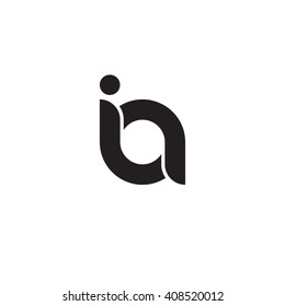 initial letter ia linked rounded lowercase monogram logo black