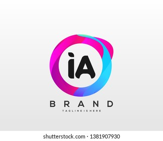Initial letter IA logo with colorful circle background, letter combination logo design for creative industry, web, business and company. - Vector