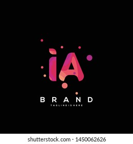 Initial letter IA logo with colorful background, letter combination logo design for creative industry, web, business and company. - Vector