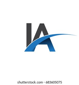 initial letter IA logotype company name colored blue and grey swoosh design. vector logo for business and company identity.