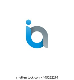 initial letter ia modern linked circle round lowercase logo blue gray