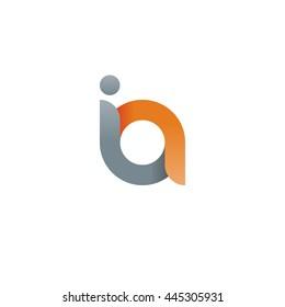 initial letter ia modern linked circle round lowercase logo orange gray