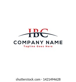 Initial letter IBC, overlapping movement swoosh horizon logo company design inspiration in red and dark blue color vector