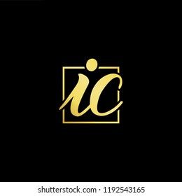 Initial letter IC CI minimalist art monogram shape logo, gold color on black background