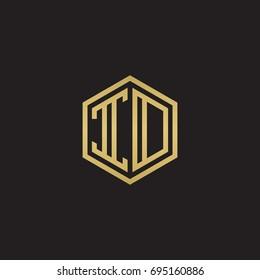 Initial letter ID, IO, minimalist line art hexagon logo, gold color on black background