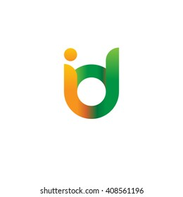 initial letter id linked round lowercase logo orange green