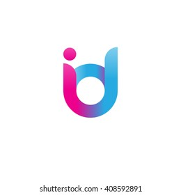 initial letter id linked round lowercase logo pink blue