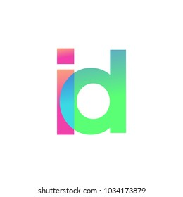 Initial Letter ID Lowercase Logo green, pink and Blue, Modern and Simple Logo Design.