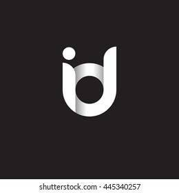initial letter id modern linked circle round lowercase logo white black