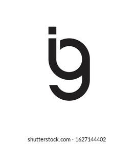 Initial Letter ig Linked Circle Lowercase Logo Black Icon Design Template Element