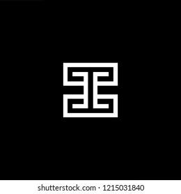 Initial letter II CC IC CI minimalist art logo, white color on black background.