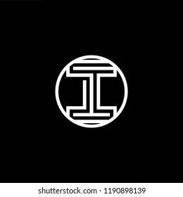 Initial letter I II III OI IO minimalist art monogram shape logo, white color on black background.