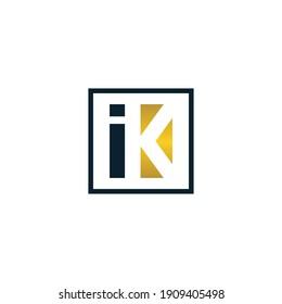 Initial letter ik or ki logo design template, simple monogram symbol