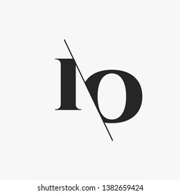 Initial Letter IO Monogram Sliced. Modern logo template isolated on gray background
