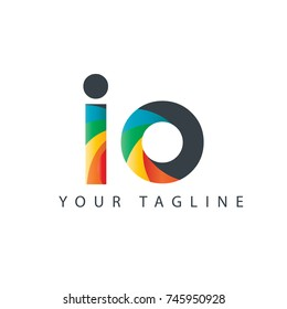 Initial Letter IO Rounded Design Logo