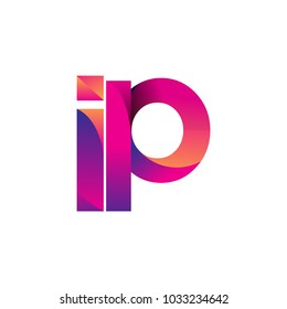 Initial Letter IP Logo Lowercase, magenta and orange, Modern and Simple Logo Design.
